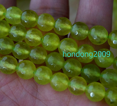 Natural 8mm faceted Peridot Loose Bead Round Gemstone LOOSE BEADS 15""
