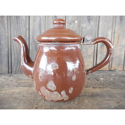 """Brown Vintage 4 1/2"""" small enamelware tea pot hot water chipped Shabby decor"""