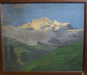 OLGEMALDE-ALPEN-GEBIRGE-BERGE-LANDSCHAFT-HUTTE-BOTANIK-BLUMEN-IMPRESSIONIST