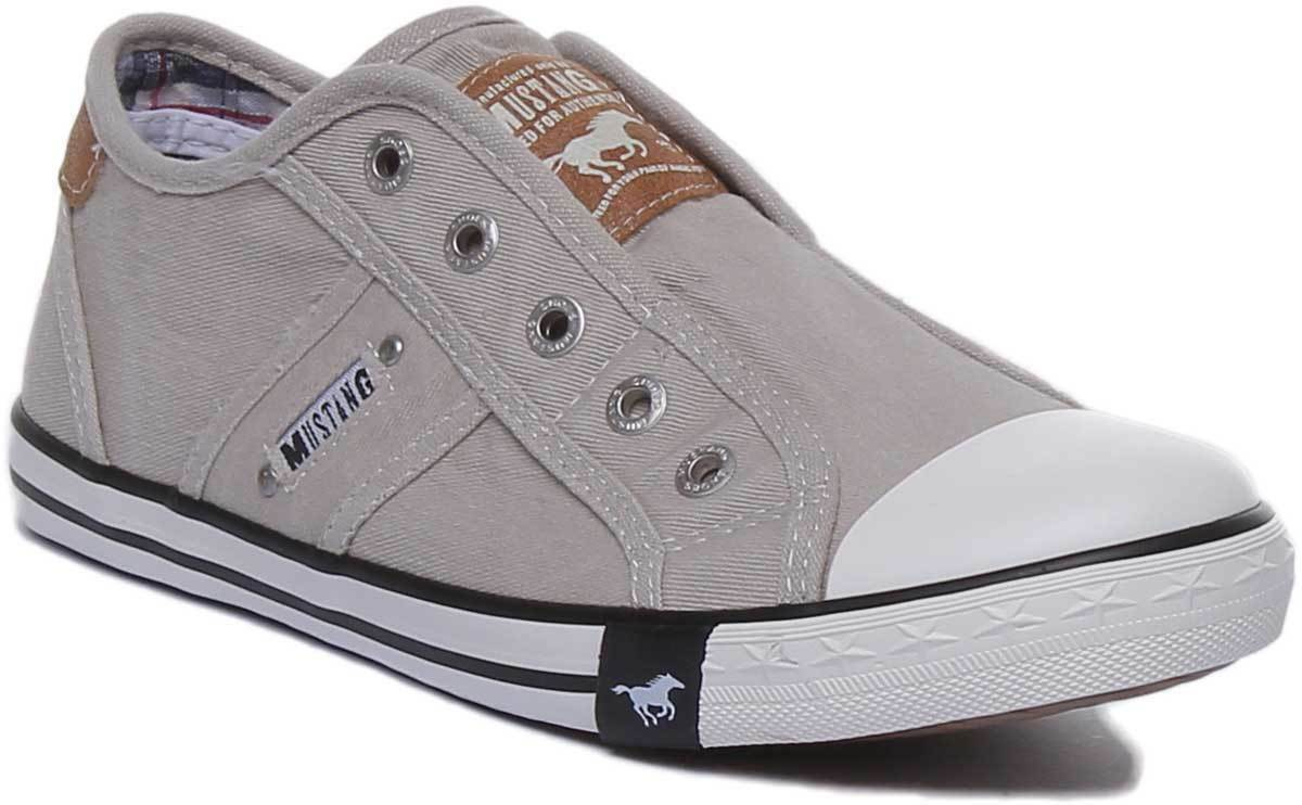 Mustang 1099 401 Women Trainers In Light Grey Canvas UK Size 3 - 8