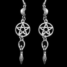 Gothic Pentagram and Red Faceted Teardrop Dangly Earrings Wicca Pagan Witch