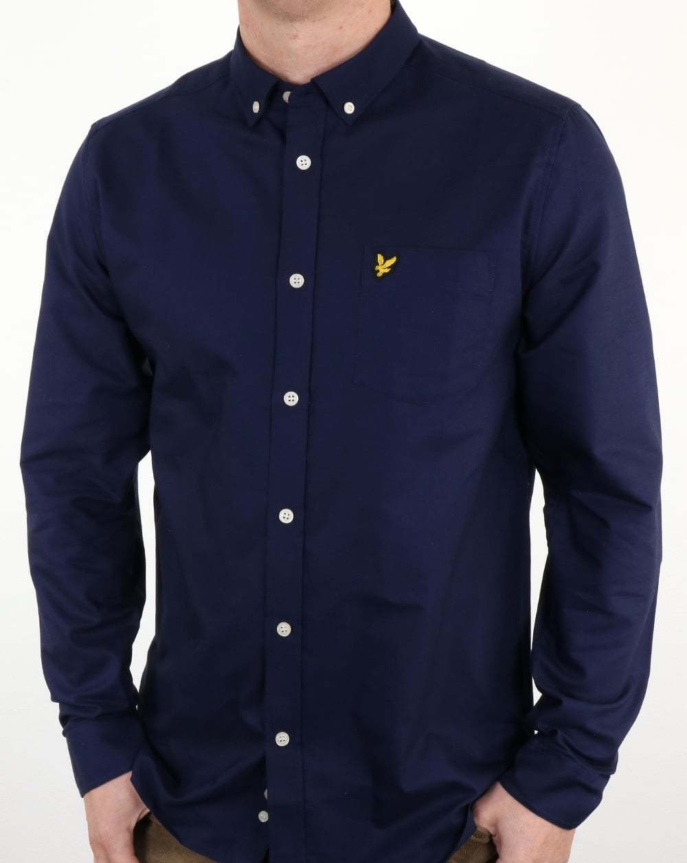 Lyle and Scott Oxford Shirt in Navy bluee - cotton long sleeve button down casual