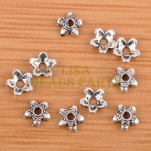 100pcs-6mm-Tibetan-Silver-Bead-Caps-Charms-Spacer-Beads-Jewelry-Findings