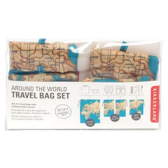 Kikkerland maps around the world travel bag set 4 pieces laundry around the world travel bag 4 piece set holiday luggage laundry shoe bags gumiabroncs Choice Image