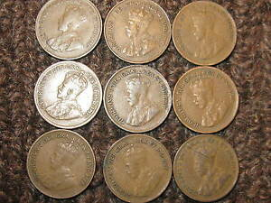 Canada-Rare-Small-Cents-Collection-Of-9-Coins-1920-21-28-29-32-To-36
