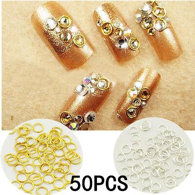 50pcs 4mm 3D Nail Circle Dangle Stud Rings Acrylic UV Gel Nail Art Decoration