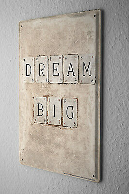 Tin Sign Sayings  Dream Big letter cards Metal Plate