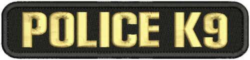 POLICE K9 Embroidery patch 1.75 X 8 hook on back background  BLK//TAN