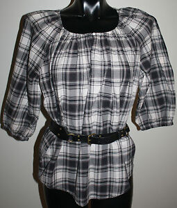 COUNTRY-ROAD-Size-Small-Check-Tartan-PEASANT-TOP-Matching-Leather-BELT