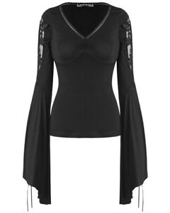 Dark-In-Love-Womens-Gothic-Witch-Top-Black-Long-Sleeve-Floral-Lace-VTG-Vampire