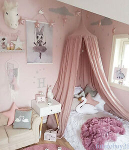 Children-Bed-Canopy-Round-Dome-Mosquito-Net-Hanging-Curtain-Kid-Bedroom-MH78TR
