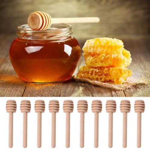 2//10Pcs Mini 8cm Wooden Jam Honey Dipper Wood Stirring Rod Stick Syrup Spoons JT