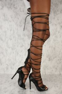 C \u0026 C Denise Sexy Black Strappy Tie Up