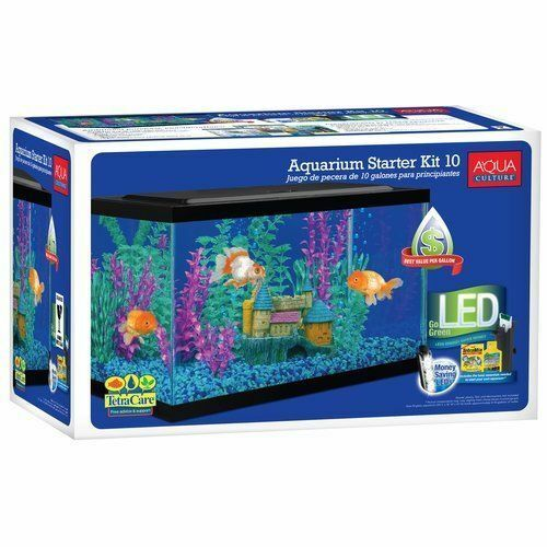 aquarium starter kit fish tank 10 gallon led light aqua culture ...