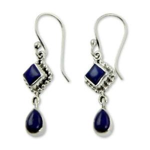 Lungo-Blu-Lapislazzuli-Gancio-Dangle-Orecchini-Goccia-Argento-925-regalo-di-nozze-gioielli
