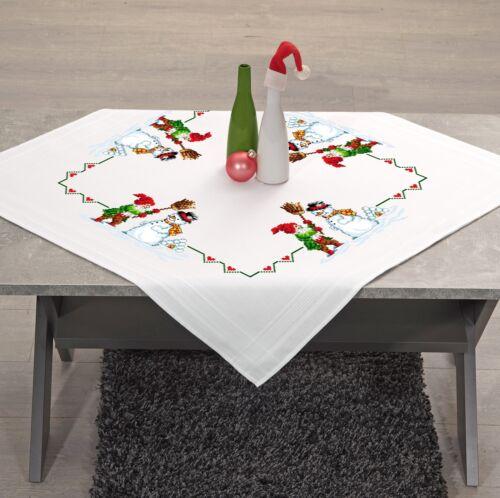 Stickpackung WINTERSPAß Tischdecke 80x80 cm Kreuzstich vorgezeichnet Baumwolle