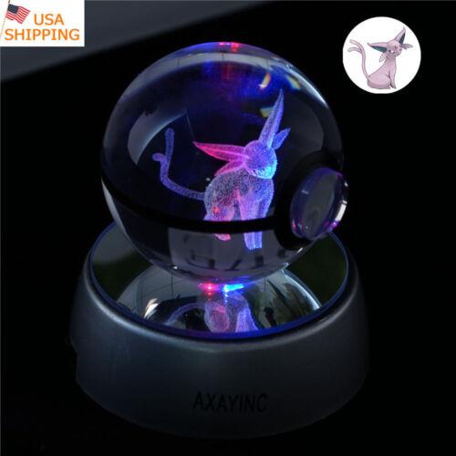 Crystal Pokemon Espeon 3D LED Decor Night Light Table Lamp Xmas Gift Pokeball