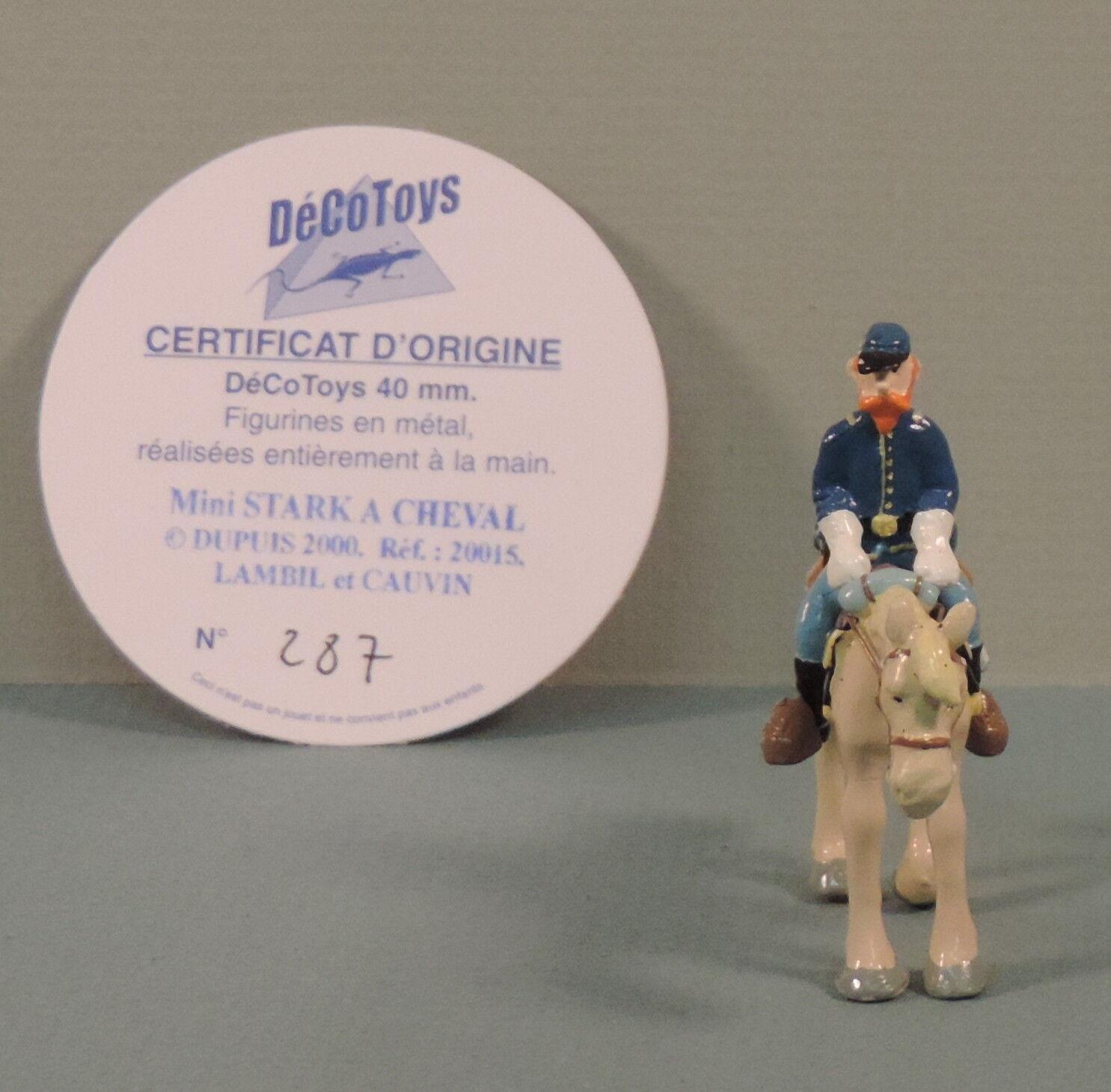 Tuniques bluees Stark a cheval mini statuette metal Decotoys 20015 numerede