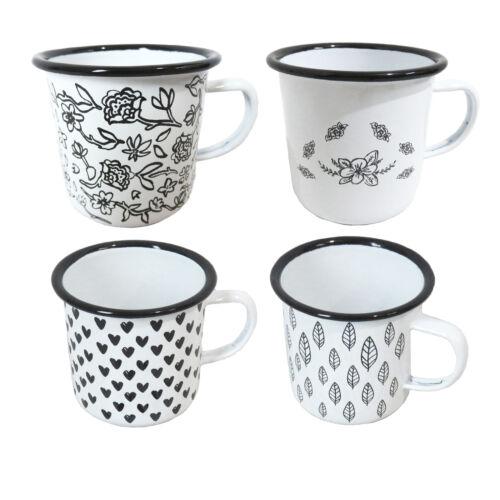 300 ml Chic Lot de 4 émail blanc tasses doté d/'un motif fleuri noir feuille et cœur D