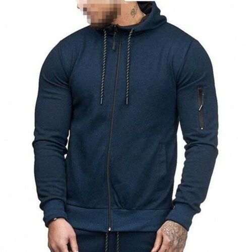 Men/'s Hooded Long sleeve Sports Hoodies Jacket Sweatshirt Cardigan Outwear New B