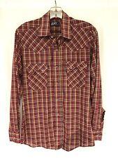 vintage mens burgundy plaid LEVIS western pearl snap shirt sawtooth thin SMALL