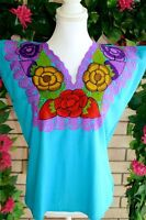 Small/medium Color Light Blue Embroidered Women Mexican Floral Blouse/huipil