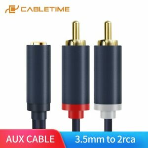 Cabletime-RCA-Cable-3-5mm-Audio-Female-to-2RCA-Male-Stereo-Cable-for-Tablet-MP3