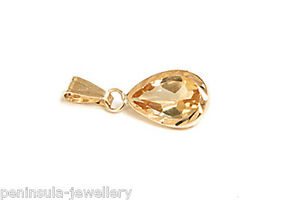 9ct-Gold-Citrine-Teardrop-Necklace-D-C-Pendant-no-chain-Gift-Boxed-Made-in-UK