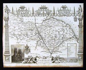 c. 1850 Thomas Moule Map - Yorkshire North Riding York Minster - England UK