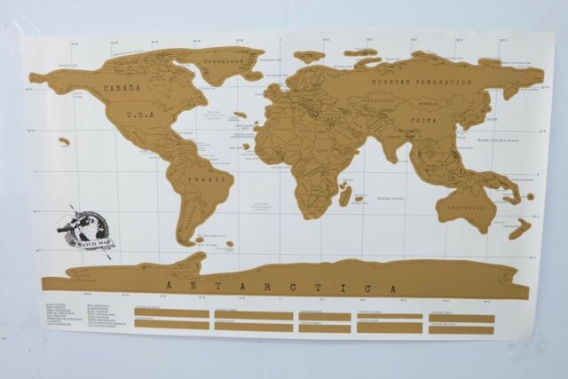 New 88X52cm Deluxe Erase White World Map Scratch off Personalize Travel Stickers