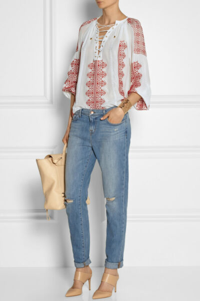 100% Vero J Brand For Theory Donna Jake Vita Bassa Jeans Boyfriend Sz 30 Nwt 210 Ligh Non-Stireria
