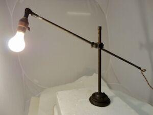 Original-Vintage-Rare-O-OTIS-C-White-Industrial-Lamp-Cast-Iron-Light-Signed-Ex