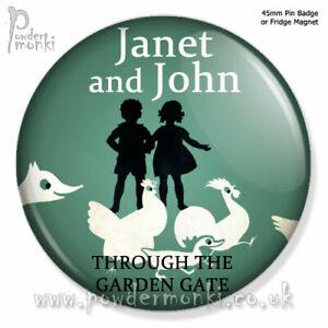 Janet John Through The Garden Gate Retro Book Badge Magnet