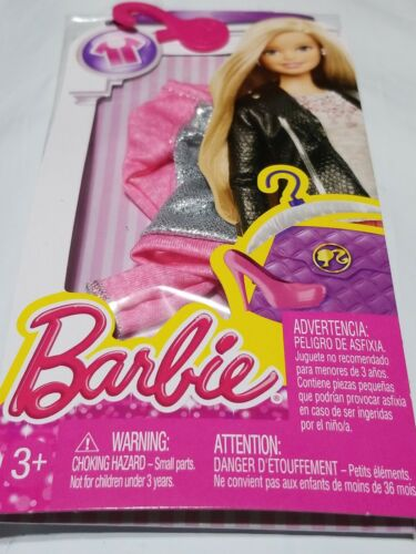 Barbie Fashions Outfit Pink with Silver Long Sleeve Shirt  CLR00 Clothes New