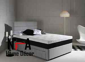 Grey fabric divan bed base sale 26 headboard 3ft single for Double divan bed base for sale