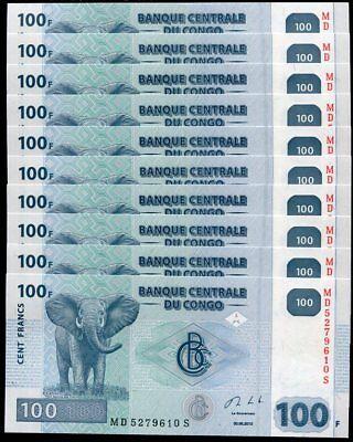 UNC P-98 2013 100 Francs X 5 PCS CONGO D.R