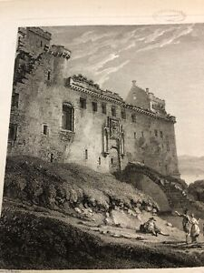 Antique-Copper-Plate-Engraving-Palace-At-Linlithgow-1782-Original