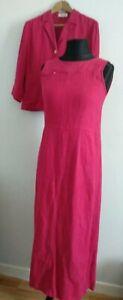 Olsen-Damentop-rosa-Leinen-Kleid-und-Jacke-Groesse-12-Anzug-Set-Anlass-Reissverschluesse