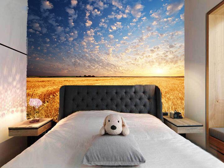 3D Dichte Wolken Weizenfeld 8 Tapete Wandgemälde Tapete Tapeten Bild Familie DE  | Vorzugspreis  | Überlegene Qualität  | Billig