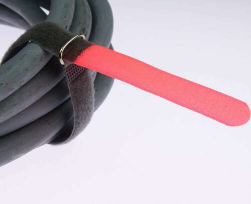 40x Kabelklettband FK 30cm x 20mm neon rot Klettband Klett Kabel Binder Band Öse