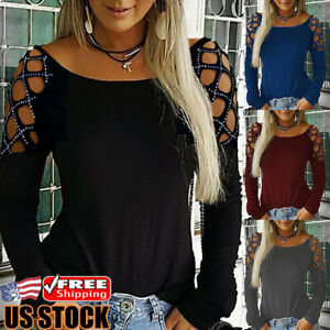 Womens-Hollow-Long-Sleeve-Loose-T-Shirt-Ladies-Summer-Casual-Blouse-Tops-Tee