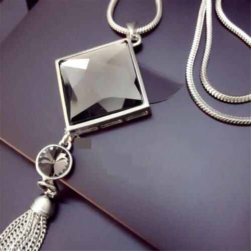Fashion Pendant Necklace Square Big Drop Crystal Long Chain Sweater Tassel DP