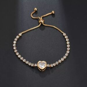 GOLD-FILLED-HEART-TENNIS-Made-With-SWAROVSKI-CRYSTALS-ADJUSTABLE-GIFT-RG46
