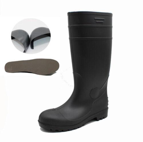 Mens Steel Toe Work Safety Wellies Boots Wellington Rain Boots Shoes Waterproof