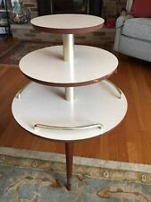 Vintage Mid Century Modern Round 3-Shelf Blonde Accent Table 3 Legs