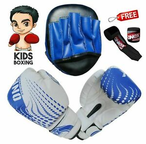 Boxing-Gloves-Gym-Training-Kids-Focus-Punch-Pads-Free-Hand-Wraps-MMA-Martial-Art
