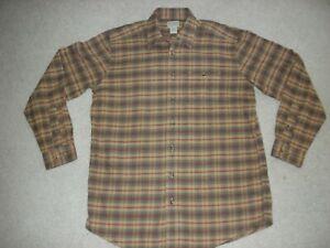 Men-039-s-LL-Bean-Butterscotch-Plaid-Flannel-Shirt-Medium-Tall-New