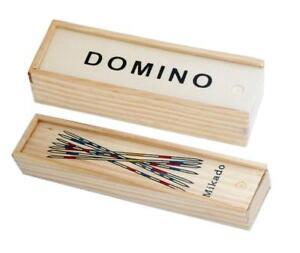 Spiele-Set-Domino-amp-Mikado-in-Holzschachtel-Dominosteine-Mikadostaebe-Spiel