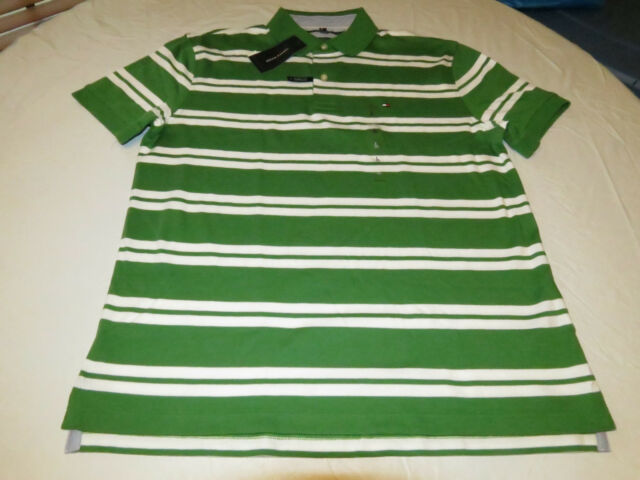 098093d8c5 Tommy Hilfiger Polo Shirt Green White Stripes SS Classic Fit L Large Mens