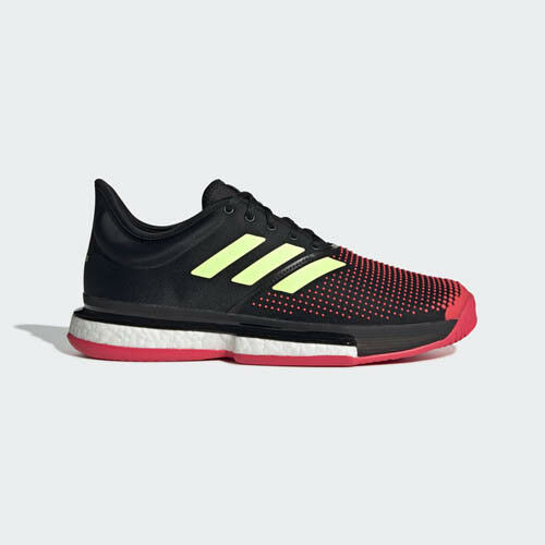 Adidas AH2131 Men Sole Court Tennis shoes black yellow red sneakers